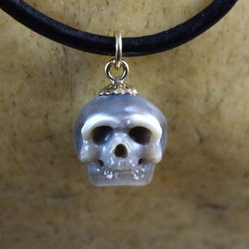 Hand Carved Grey Full Skull Pearl with 14k Gold Bail Leather Necklace