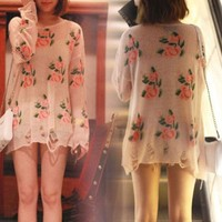 Oversized Floral Flower Distressed Frayed Cuffs Jumper Hole Knitwear Sweater