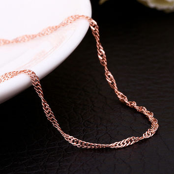 "18"" Rose Gold Ripple Chain"