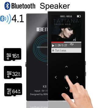 MP3 Player Bluetooth and Speaker 8G Original Lossless Touch Screen Key MP3 Music Player Sport Recorder E-Book BENJIE K8