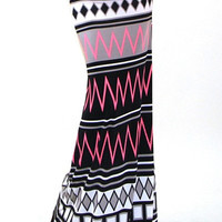 High Waist Tall Neon Pink Tribal Print Stretch Maxi Skirt
