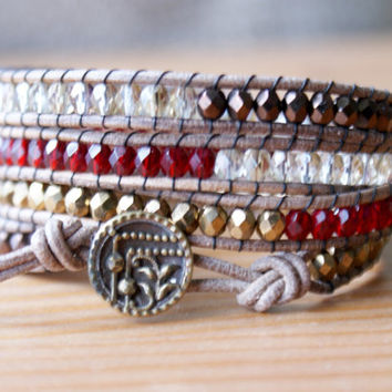 Beaded leather wrap bracelet, Bohemian trendy jewelry, Bronze, red, garnet, crystal twilight, antique, boho chic, gift idea, hipster