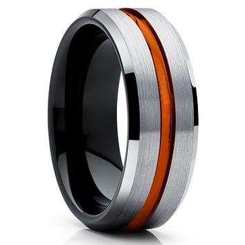 Orange Wedding Band - Tungsten Wedding Ring - Black Tungsten Ring
