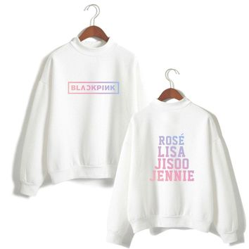Black Pink Sweatshirts Kpop Pullover Loose Casual Fleece Hoodies With Capless Winter Fleece Tracksuit Hoodies XXS To XXXL