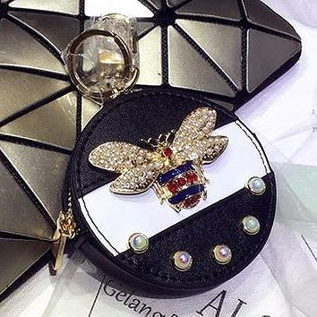 GUCCI Fashionable Delicate Pearl Bee Bag Hanging Drop Car Key Chain Bag Zero Wallet Accessories Black