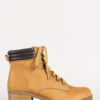 Ridged Collar Faux Suede Work Boot