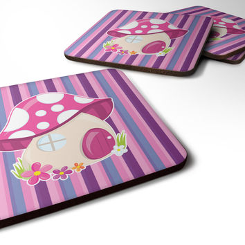 Fairy House Pink and Purple Foam Coaster Set of 4 BB6908FC