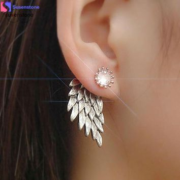 Women's Cool Jewelry Angel Wings Rhinestone Alloy Earrings