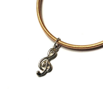 Treble G Clef charm in nude cord necklace, musical symbol jewelry