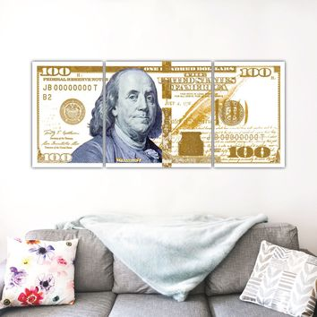 $100 Bill Money Art White and Gold Canvas Print
