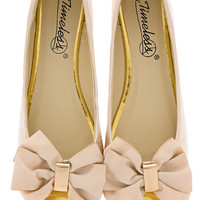 TIMELESS LEAH Nude Peep Toe Ballerinas - SHOES | FLATS | Ballerinas | PRET-A-BEAUTE.COM