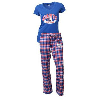NY Giants Medalist Ladies Pant & Short Sleeve Top PJ Set
