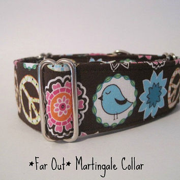 2 inch Peace Sign Martingale Collar, Greyhound Martingale, Free Shipping, Peace Sign Dog Collar, 70's