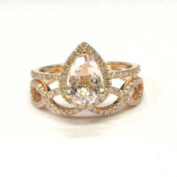 Diamond Wedding Ring Sets!Morganite Engagement Ring 14K Rose Gold,6x8mm Pear Cut Morganite,Floral Stackable Matching Band,Halo