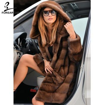 FURSARCAR Full Pelt Luxury Real Mink Fur Coat Women With Big Fur Hood Fashion Winter Warm Jacket Female Mink Fur Coat