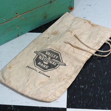 Vintage Canvas Bank Money Bag . Valley National Bank of Arizona . Defunct Bank Collectible