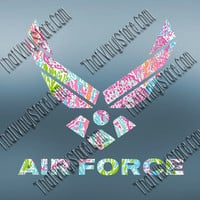 Preppy Pattern Air Force Decal | Military Decal | US Air Force Sticker | Air Force Car Decal | Military Support | Car Stickers | 013