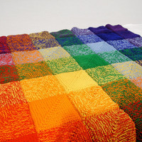 Rainbow Squares Afghan full ROYGBIV by NikisKnerdyKnitting on Etsy