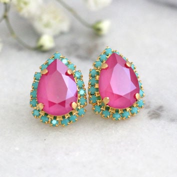 Pink Turquoise Earrings, Hot Pink Earrings, Fuchsia Studs Earrings, Swarovski Crystal Pink Earrings, Bridesmaids Pink Earrings, Pink Studs