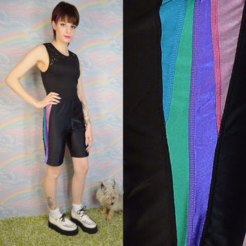90s Biker Shorts Spandex Black Athletic Stripes Hipster Lavender Pink Green Women's Size Medium Large Elastic Waist Lycra Spandex Workout