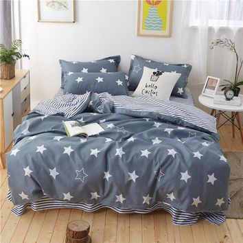 Home Bedding Sets White gray Star Plaid Twin/full/queen/king size Duvet Cover Sheet Pillowcase Bed Linen children boy bedclothes