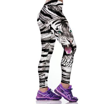 Wild Cats - Women's 3-D Graphic Printed Workout Leggings - Elastic Slim Push-up