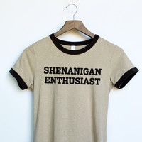 Shenanigan Enthusiast Ringer Shirt in Tan