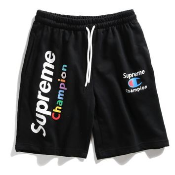 Champion X Supreme Summer Popular Rainbow Letter Print Classic Sport Shorts Black I12498-1