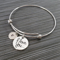 I Love You Bangle Bracelet- Love Charm Bracelet - Adjustable Bracelet Bangle - Love Bracelet - Initial Bracelet - Gift for Mom Jewelry