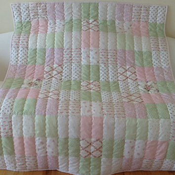 LOVE, Hope, Shabby Chic,Large Lap Quilt, Throw, Handmade Quilt Free Shipping Canada & USA 53 x 64 inches