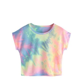 Tonal Pastel Pink Blue Yellow Tie Dye Crop Top
