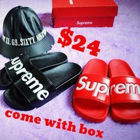 Best Online Sale Supreme Suprize Design 14SS SLIDE SANDALS Women Red Black Slipper