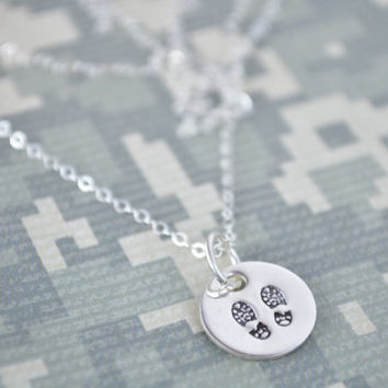 "Tiny 1/2"" Combat Boot Stamp Necklace, Deployment Jewelry, Army Wife, Navy Wife, USMC Wife, Hand Stamped Jewelry  by Miss Ashley Jewelry"