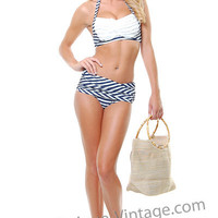 Aquadesiac Ruffle Navy And White Stripe Two Piece Bikini - Unique Vintage - Cocktail, Evening & Pinup Dresses