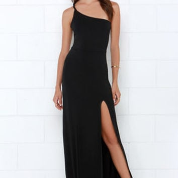 Sinuous Saunter Black One Shoulder Maxi Dress