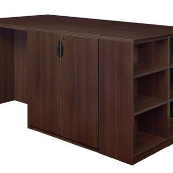 Legacy Stand Up Desk/ 3 Storage Cabinet Quad with Bookcase End- Java