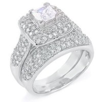 Sterling Silver Cubic Zirconia CZ Victorian Wedding Engagement Ring Set