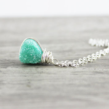 Green Druzy Necklace, Sterling Silver Necklace, Geometric Necklace, Druzy Gemstone Necklace, Druzy Quartz, Triangle Pendant Necklace