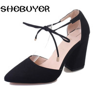 Summer Women Sandals Pointed Toe High Heel Woman Sandles Thick Heel Women Shoes Korean Style Gladiator Shoes Cover Heel Lace Up