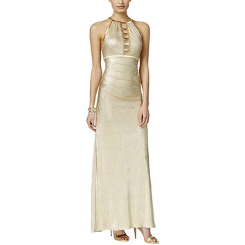Xscape Womens Metallic Beaded Evening Dress