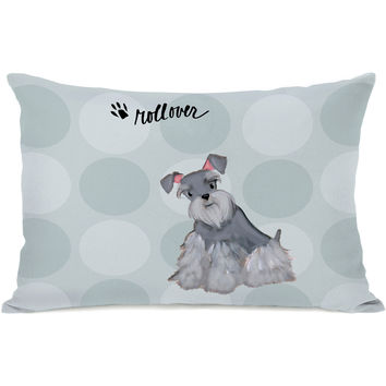 """Pup Words Schnauzer"" Indoor Throw Pillow by April Heather Art, 14""x20"""