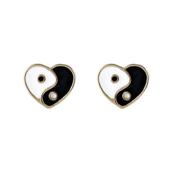 Accessorize | Yin Yang Heart Stud Earrings | Black | One Size