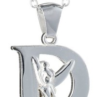 """Disney """"Tinkerbell"""" Initial Silver Pendant Necklace"""