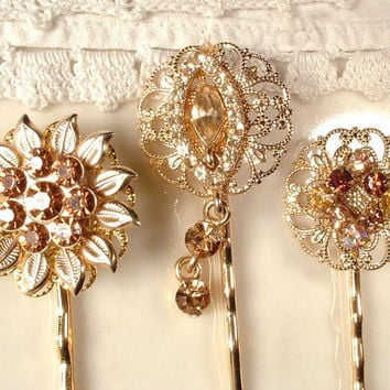 Vintage Champagne Topaz Amber Rhinestone Jeweled Bridal Bobby Pins - 22K Gold Heirloom Jeweled Hair Pins Set of 3 Bridesmaids Gifts