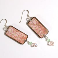 Decoupaged Wood Earrings with Swarovski Crystal Drops  by rrizzart