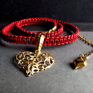 Valentine's Day Jewelry:  Charm Necklace, Antiqued Gold Filigree Heart Pendant Lipstick Red Leather Macrame Necklace