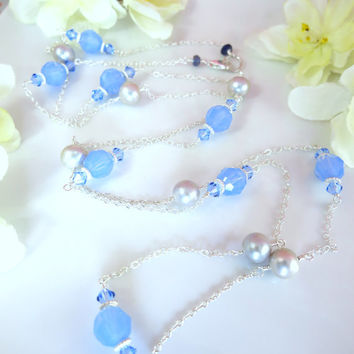 Lavender opal Swarovski crystal silver pearl sterling silver rosary necklace