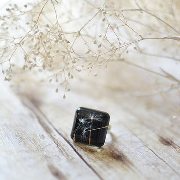 dandelion jewelry resin ring - Make a wish - statement ring, gift for a woman, gift under 30, eco resin