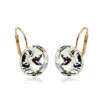 MOONROCY Free Shipping Fashion Earrings Jewelry Wholesale Rose Gold Color Austrian Crystal Earrings Wedding for women