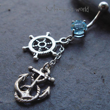 Anchor& Steering Wheel Belly Button Jewelry Ring